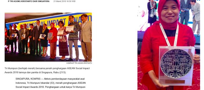 20180321_Kompas<br/><h6> Tri Mumpuni Raih ASEAN Social Impact Award </h6>