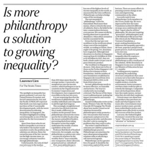 20190702_The Straits Times<br/><h6>Is more philanthropy a solution to growing inequality?</h6>