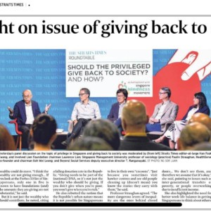 20190703_The Straits Times<br/><h6>Spotlight on issue of giving back to society</h6>